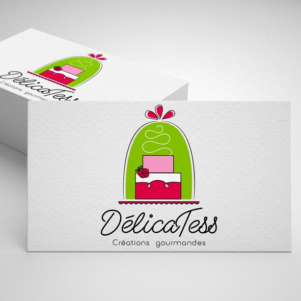 Carte de visite et logo DelicaTess Pâtisserie créative
