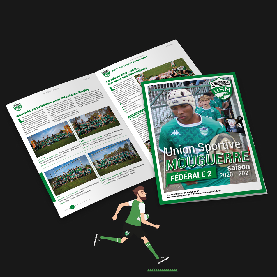 Mise en page de la brochure annuelle du club de rugby de Mouguerre l'USM