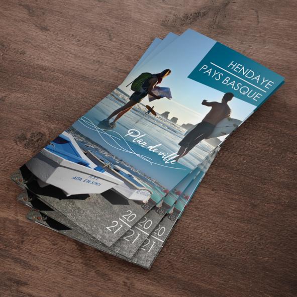 Cartographie et mise en page des des encarts publicitaires sur le plan d'Hendaye 2021.