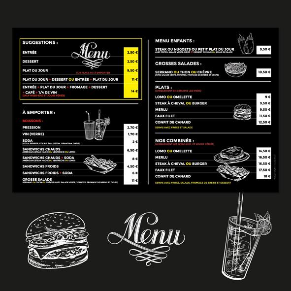 Panneau Menu Restaurant Le Noir et Blanc Tarnos