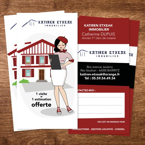 Flyer - Marque Page - Katiren Etxea - Agence Immobilière - Biarritz